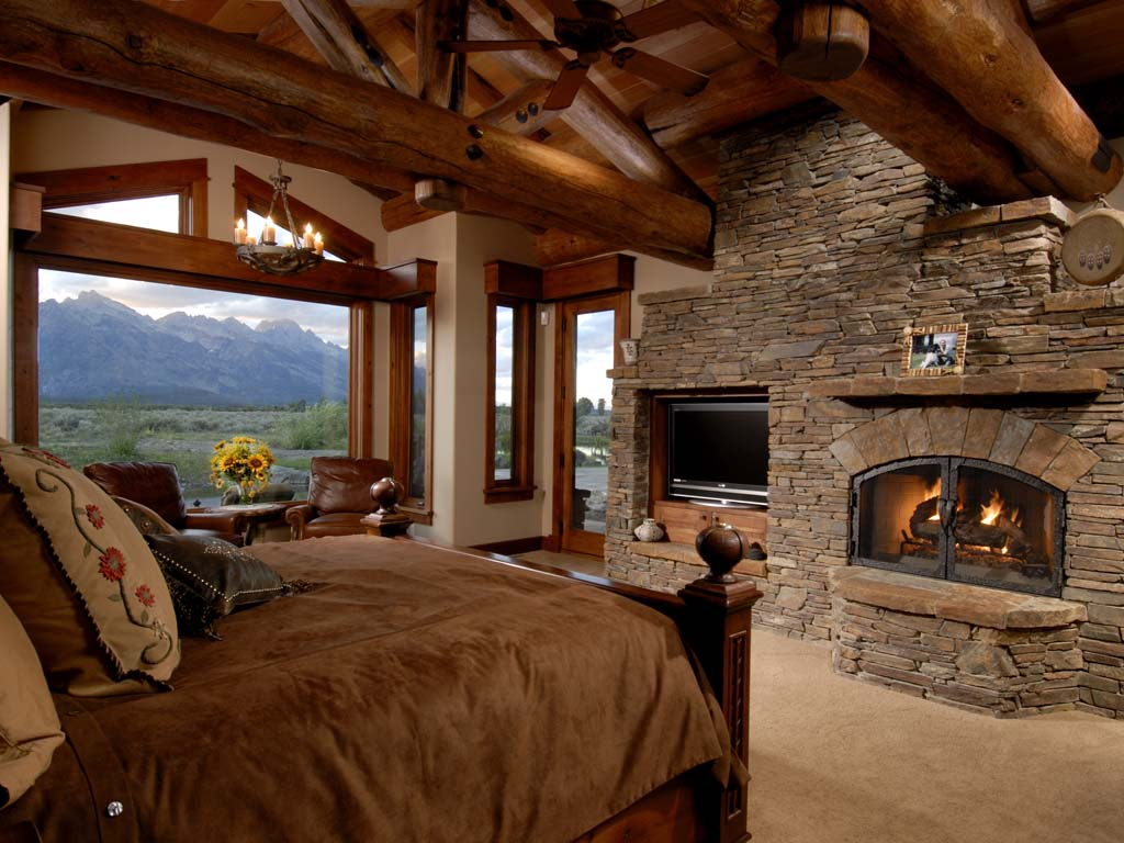 log cabin master bedroom fireplace so relaxing dream home